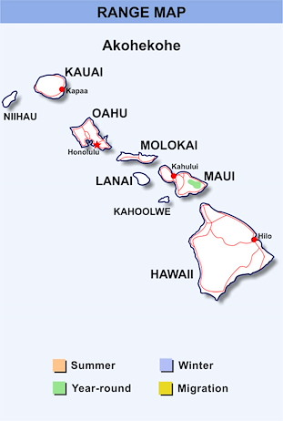 Range Map Hawaii for Akohekohe
