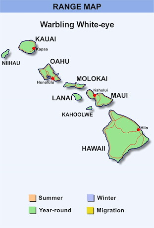 Range Map Hawaii for Japanese White-eye
