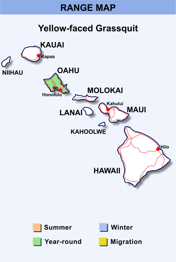 Range Map Hawaii for Yellow-faced Grassquit
