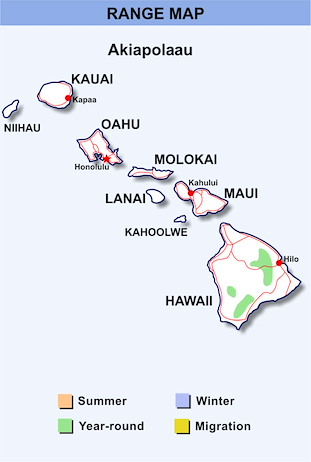 Range Map Hawaii for Akiapolaau